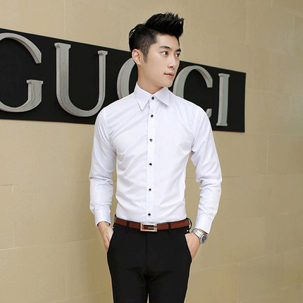 Men Plus Size XXL Basic Formal Long Sleeve Shirt