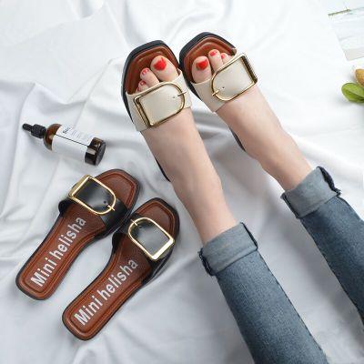 Women Buckle Design Slippers Sandals Flip-Flop