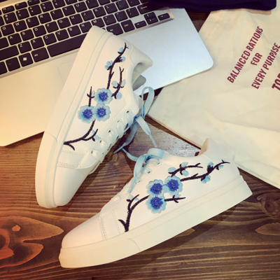 Women Ribbon Macaron Color Embroidery Sneakers