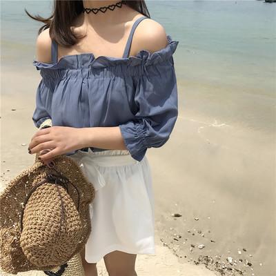 Women Plain Color Strap Off Shoulder Blouse