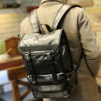 Men PU Leather Bucket PC Laptop Student Bag