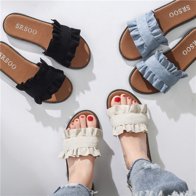 Women Japanese Lace Design Sandals Flip-Flop Slippers