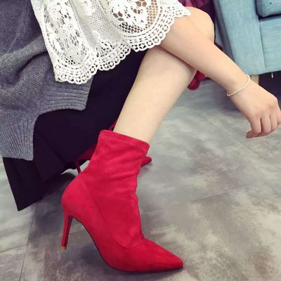 Women Suede Pointed Head Ankle Boots