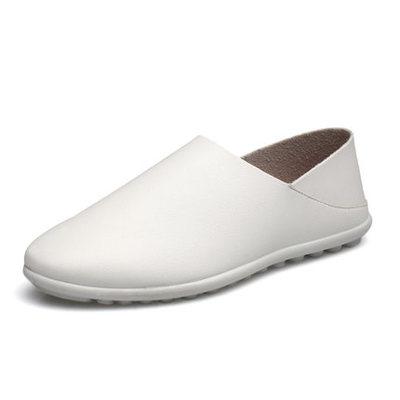 Men Plain Design PU Soft Leather Loafer Slip On Shoes