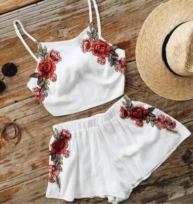 Women Euro Embroidery Sling Playsuit