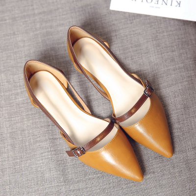 Women Small Buckle PU Leather Pointed Head Office Flats
