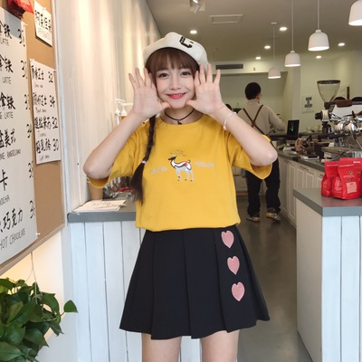 Women Embroidered Love Shape High Waist Pleated Mini Skirt