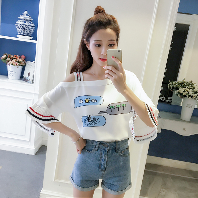 51c754ee8d2 Women Korean Summer Oblique Off-Shoulder Pleated Sleeve Top