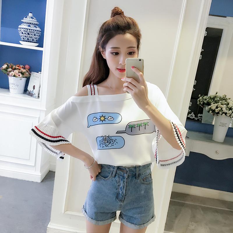 Women Korean Summer Oblique Off-Shoulder Pleated Sleeve Top