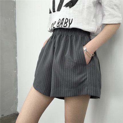 Women Korean Stripe High-Waist Wide Leg Shorts