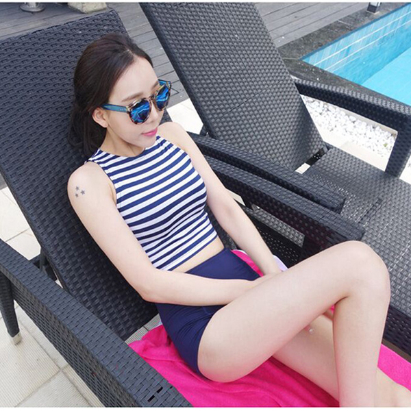 Women Stripes Tankini Two-Piece Swimsuit