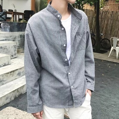 Men Mandarin Collar Stripe Button-Down Shirt
