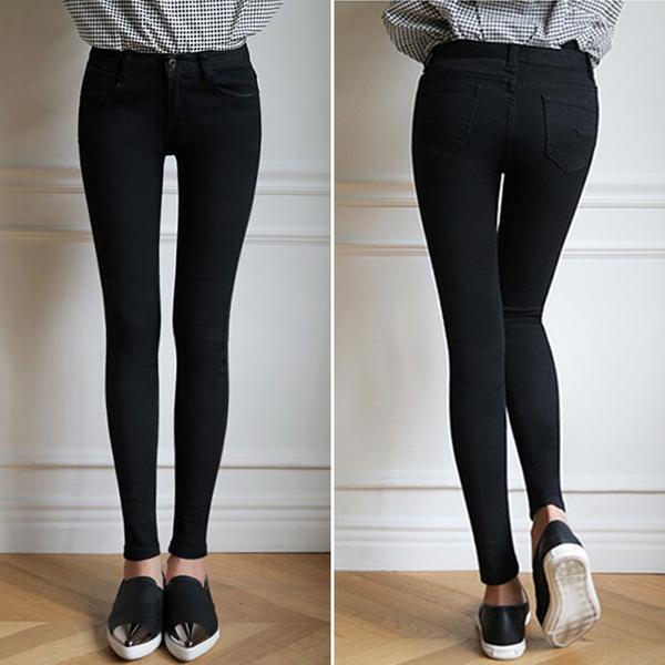 Women Black Stretchable Skinny Jeans Slim Pants