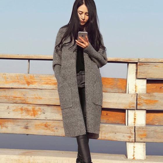Women Long Sweater Long Sleeve Cardigan Loose Thick Jacket