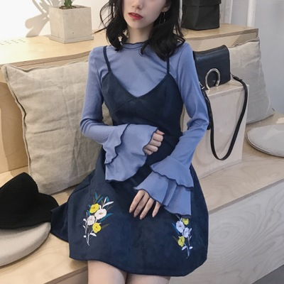 Women Retro Korean Suede Flower Embroidery Harness Dress