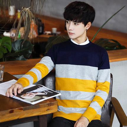 Men Korean Stripe Knit Sweater Long-sleeved T-shirt