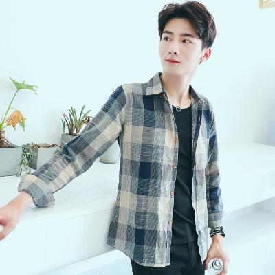 Men Korean Japanese Plaid Grid Long-sleeved Shirt Jacket