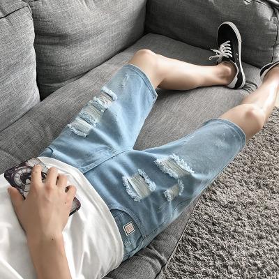 Men Denim Holes Worn Design Shorts Pants