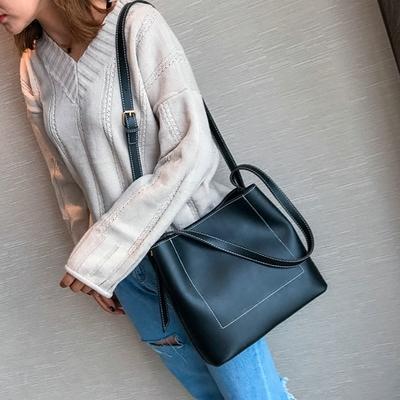 Women Shoulder Messenger Simple Plain Handbag Sling Bag