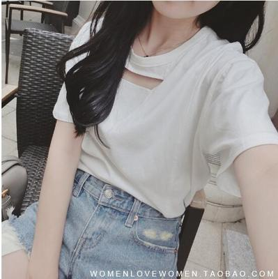 Women Clothing Plain Colour Sexy Short Sleeve T Shirt Pure