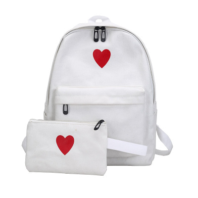 Women Love Shape 2 in 1 Students Large-capacity Canvas Backpack