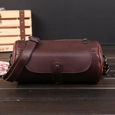 Men Korean PU Leather Retro Small Cylinder Bag