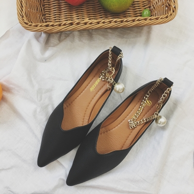 Women Korean Shallow Mouth with Metal Chain Flat Work Shoes