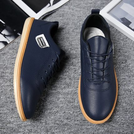 Men England Korean Waterproof Working PU Leather shoes