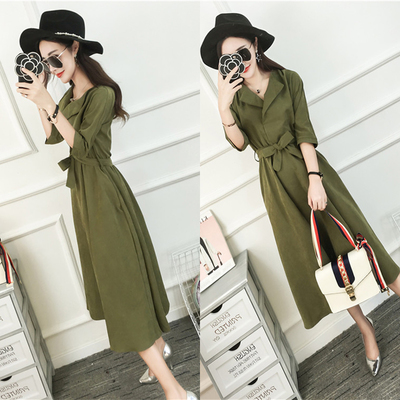 Women OL Temperament V-neck Tie Waist Long Dress