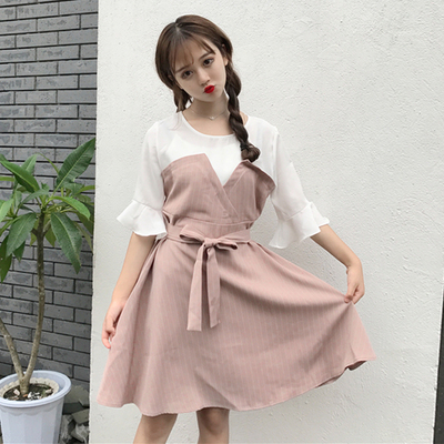 Women Korean Striped Lotus Leaf Sleeved Dress