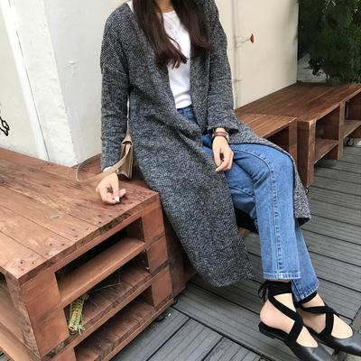 Women Korean Long Sleeve Knee-length Coat Cardigan