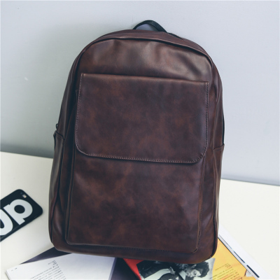 Men PU Leather Simple Design Student Leisure Travel Backpack