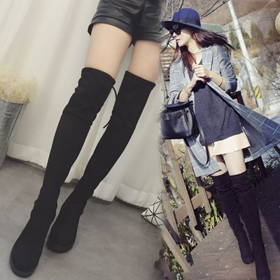 Women Cashmere Knee High Elastic Boots