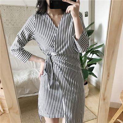 Women OL Office Long Sleeve Stripes Dress