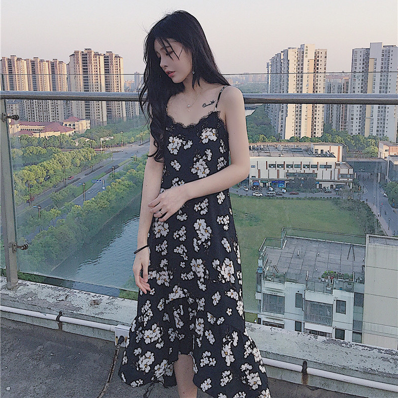 Women OL Spaghetti Strap Black Floral Print Maxi Dress