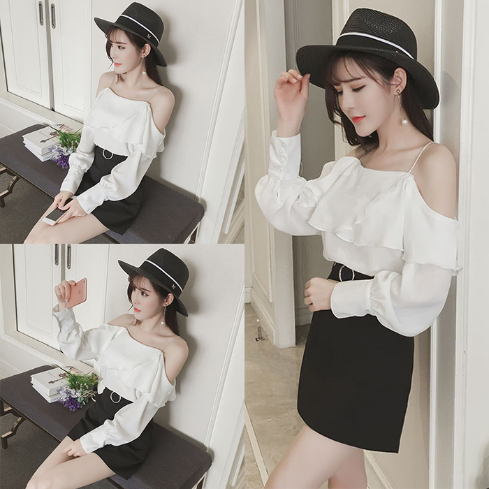 Women Off Shoulder with Strap Ruffle Long Sleeves Top
