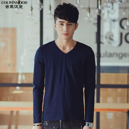 Men Long-Sleeved T-Shirt, Solid Color V-Neck Shirt