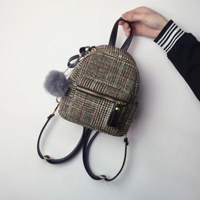 Women 2017 Winter New Simple Joker Plaid Small Backpack