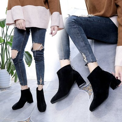Women New British Style Square Head Frosted Boots