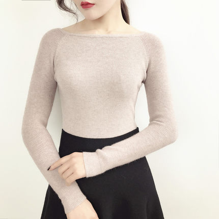 Women New Tide Korean Version of  Word Collar Sweater