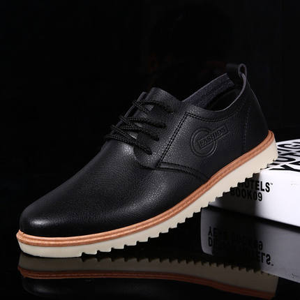 Men Business Casual Black Leather Shoes