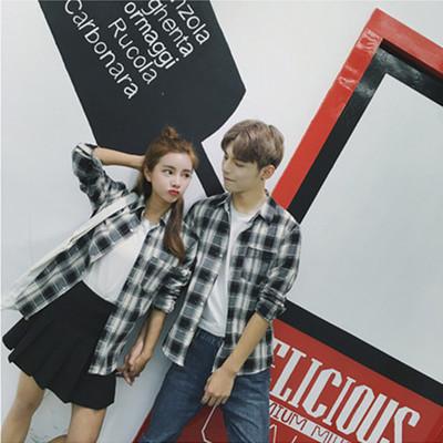Men Autumn New  Long-Sleeved Plaid Shirt, Couple Wild Shirt