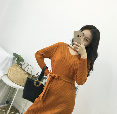 Women Early Spring Sexy V-Neck Tie Waist Slim