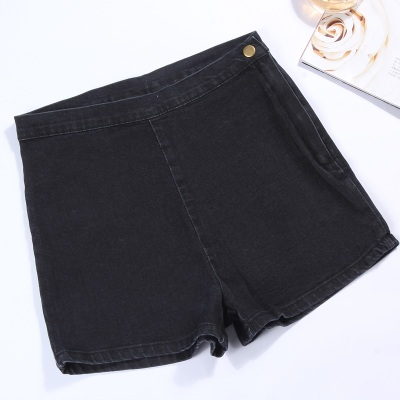 Women  Black Shorts Casual Pants Autumn Elastic Retro High Waist Denim Shorts
