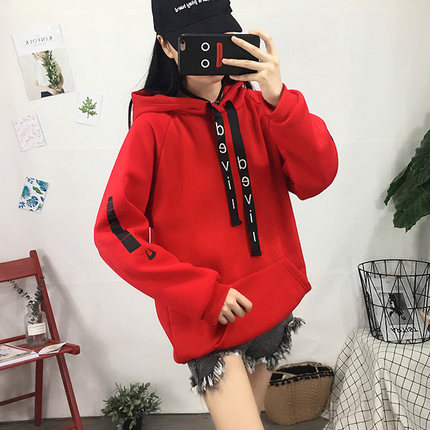 Women  Plus Velvet Padded Hooded Sweater Loose Harajuku Bf Wind Jacket