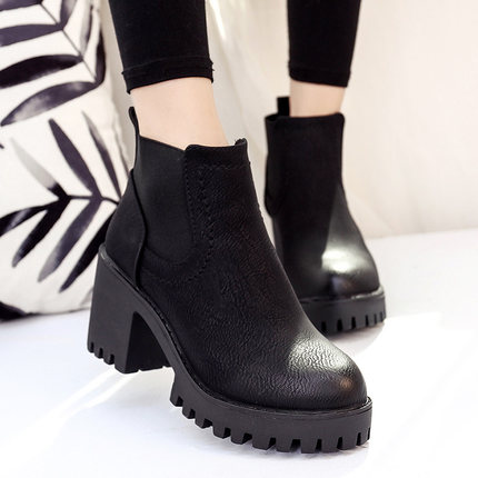 Women Rough With High-Heeled Martin Boots