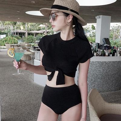 Women Ultra-Ocean Models Knotted Shirt High Waist Split Swimsuit Bikini