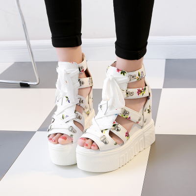 Women Floral Tie with Loose Bottom Sexy Shoes Thick Fish Head Sandals