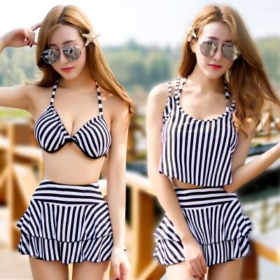 Women New Split Skirt Gathered Swimwear Fashion Striped Hot Spring Bathing Suit