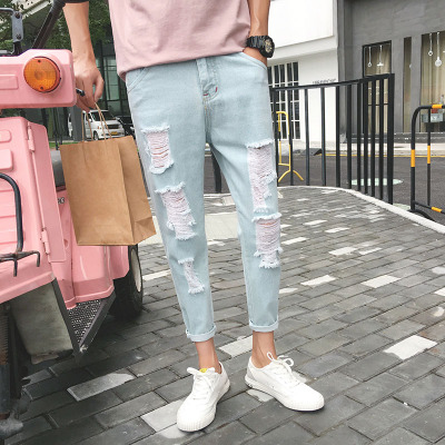 Men's Spring and Autumn Junior High School Students Casual Trend Nine Pants